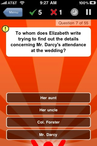 Screenshot Pride and Prejudice Quiz